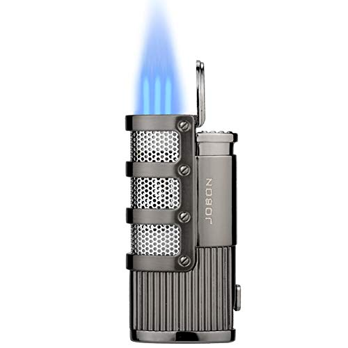 TOPKAY Briquet Allume-Cigare, Briquet Tempete Gaz, Briquet Triple Jet à Flamme, Briquet Gaz, Briquet pour Pipe, Briquet à Essence Rechargeable avec Coupe-Ciga