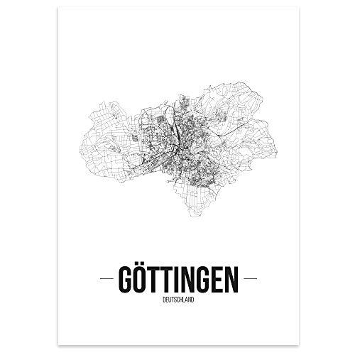 JUNIWORDS Stadtposter - Wähle Deine Stadt - Göttingen - 21 x 30 cm Poster - Schrift B - Weiß