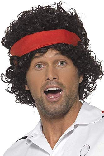 John McEnroe 80s Tennis Player Wig with Headband