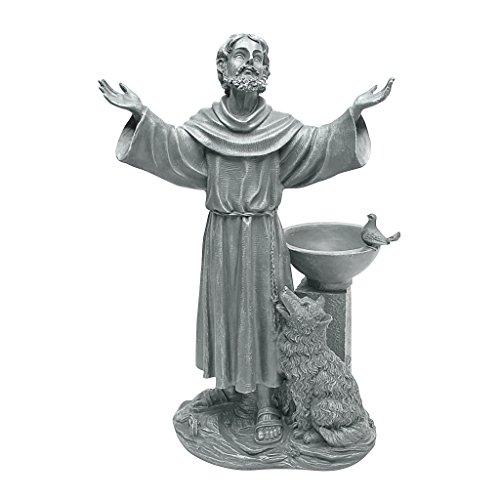 Design Toscano St. Francis Segen Religiöse Gartenstatue mit Vogeltrinkstelle, Polyresin, steingrau, 48 cm