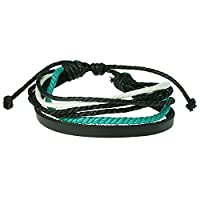 Urban Male Black Leather & Multi Coloured Cord Surfer Style Bracelet