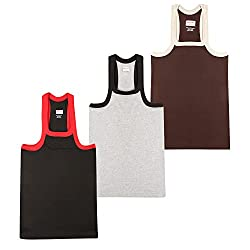 Wyatt Mens Cotton Gym Vest(1014_Brown-Grey-Black_XXL)