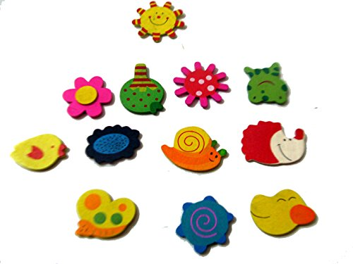 Art box 24 piece wooden natural theme charcters Fridge/almirah sticky magnets  available at amazon for Rs.220