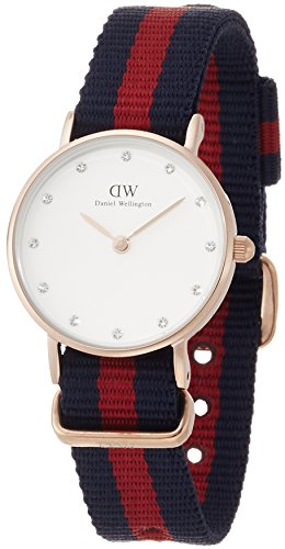 Daniel Wellington women's quartz Watch with beige Dial analogue Display and multicolour nylon Strap 0905DW