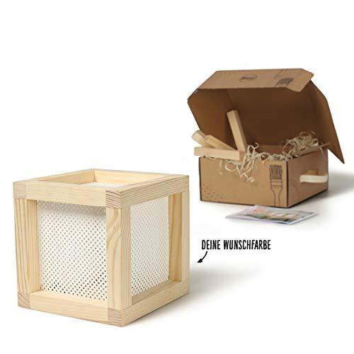 CREATE! by OBI DIY Würfelleuchte | Dekorative Tischleuchte aus Holz & Lochkarton zum Selberbauen inkl. LED-Leuchtmittel Warmweiß E14 (HINWEIS: Farbe im Set nicht enthalten) [Energieklasse A++]