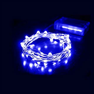 AZX LED String Light, 2M 20 Leds Copper Wire Fairy Lights Battery Operated Christmas Outdoor Lights for Christmas Party, Outdoor Patio, Wedding, Indoor Decoration Blue