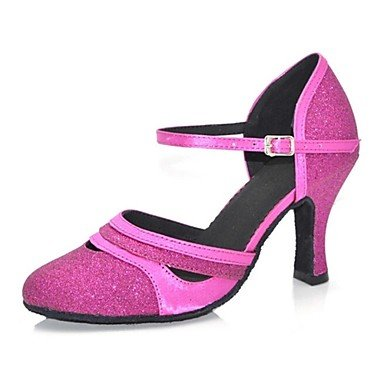 Silence @ Chaussures de danse pour femme moderne satiné/paillettes Talon Noir/doré/fuchsia fuchsia