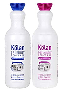 Kolan Combo Pack of Organic Biodegradable Laundry Clothing Detergent and Baby Laundry Clothing Detergent (700 ml Each) - Ideal for Both Top & Front Load and Hand Wash (Suitable for all Types of Fabrics)
