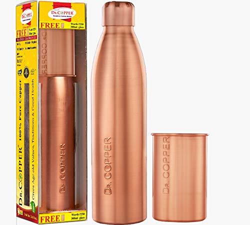 Dr. Copper Jumbo Pack-Buy Copper Water Bottle 1 Litre Best 1000 ml Bottle with Leak Proof Cap & Get 300 ml Copper Glass Free
