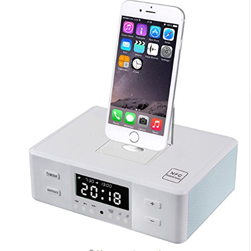 Smart Charger Dock Station NFC Bluetooth Stereo Speaker FM Radio Dual Alarm Clock Remote Control Screen for iPhone Android (Weiß)