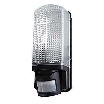 Modern Outdoor Heavy Duty Black Plastic IP44 Rated 110 Degree Movement Sensor Bulkhead Security Wall Light - Equipped With PIR Motion Detector