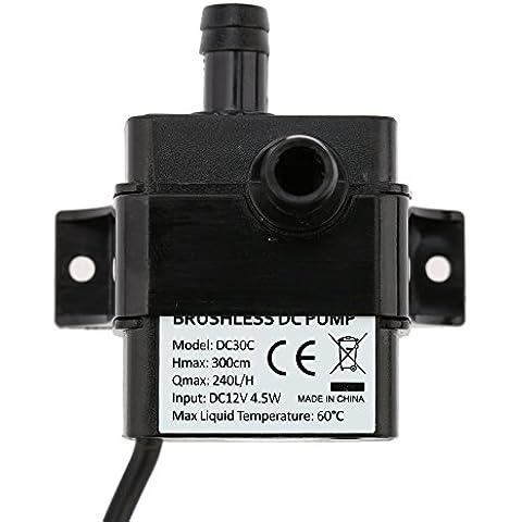 ANSELF - Bomba de Agua / Aceite / Líquido para Fuente Sumergible Acuario Circulación Impermeable & Sin Cepillo (Max.Lift:3m,DC12V,4.5W,Mini micro)