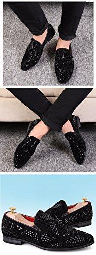 Les Chaussures En Cuir... Mode Jeune Personnalité Diamond Coréen Chaussures Pointues Tide Black -A