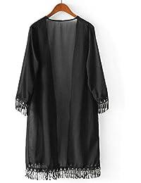 Manteau en Cardigan, NPRADLA Femmes en Mousseline de Soie Tassel Châle Kimono Cardigan Blouse