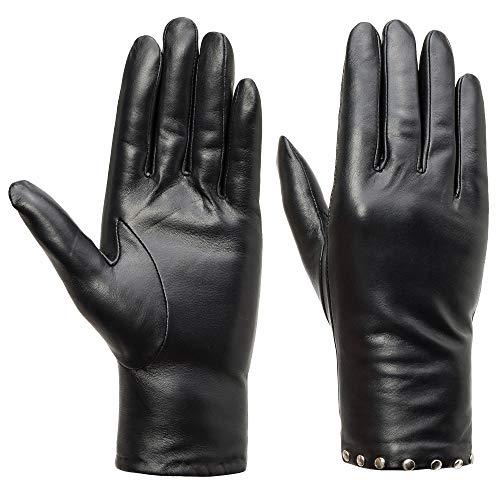 Acdyion Damen Echtleder Kaschmirfutter Handschuhe mit Nieten Touchscreen Kaschmirfutter Lederhandschuhe Winter warme Fahren Handschuhe mit Nieten als Deko (S) -
