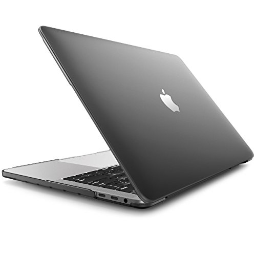 Enthopia MacBook Pro 13 Inch Case (Release 2016 2017 2018 Version - A1989 & A1706 & A1708) (with or Without Touch Bar), Plastic Hard Case & Keyboard Cover and Dust Plug - (Black) Logo Cut