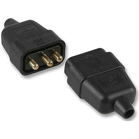 Connettore in gomma 10A 3Pin Nero–Prezzo per 1ogni - 3 Pin Gomma Connettore