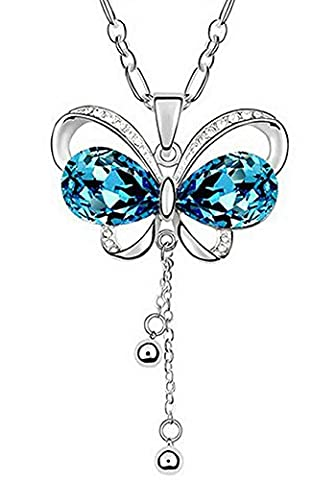 Joyfulshine Women Fashion Luxury Crystal Tassel Butterfly Shaped Pendant Long Necklace Color Blue