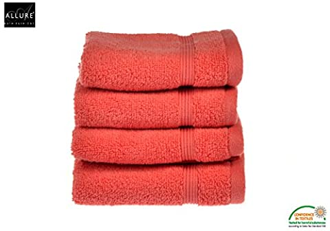 Luxury Supersoft Egyptian Cotton Face Cloths Flannel Towels by Allure Bath Fashions 4 x Absorbent and Quick Dry Face Cloth Flannel Towels Set 30 x 30cm 500gsm in Coral (4x Face Towels)