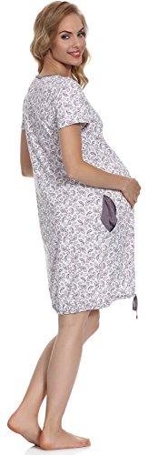Be Mammy Damen Stillnachthemd BE20-127 Weiß/Melange