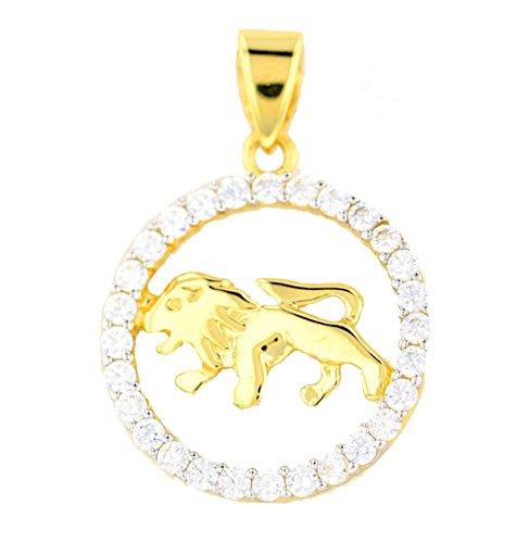Goldanhänger Löwe Sternzeichen 585 Gold Gelbgold in 14 Karat mit Zirkonia Schmuck 2828
