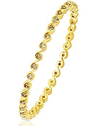 Peora 18 Karat Gold Plated Glowing Waves Bangle For Women
