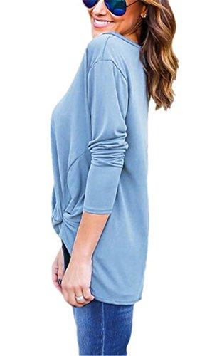 BESTHOO Donna Maglietta Manica Lunga Girocollo Allentato Casuale Camicetta Allentato Asimmetrico T-Shirt Tops Casual Blue