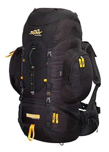 Trekkingrucksack aus Cordura® Tashev Tracker 55 + 8 Wanderrucksack (Schwarz & Gelb) -