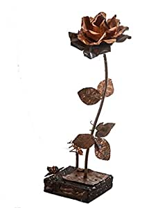 Genio Italiano, lavorazione artistica del rame - Rosa in rame con base in legno
