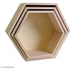 Artemio 14001892 Set 3 Étagères Hexagonales à Décorer, Bois, Beige, 30 x 26,5 x 10 cm