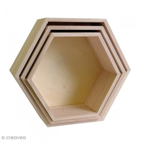 Artemio 3 scaffali di legno-esagono, beige, 30 x 26 x 10 cm