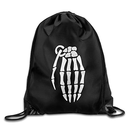 ghnfgxchxfg Gym Drawstring Bag Skeleton Hand Grenade Halloween Spooky Backpack Bag