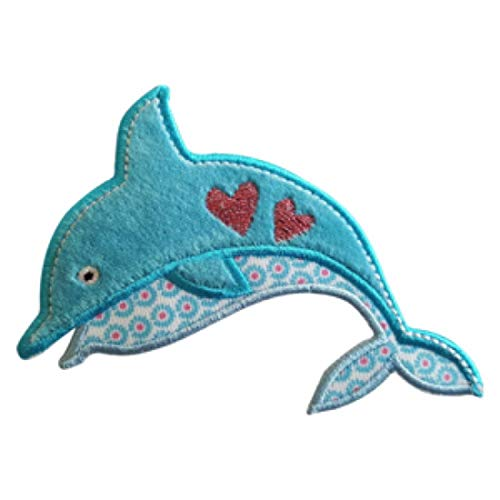 er Delphin 9X9cm Seepferdchen 6X10cm Set Aufnäher Flicken Applikationen zum Ausbessern von Kinder Kleidung mit Design Zürich Schweiz für Deutschland und Österreich ()