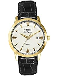 Rotary Men's Quartz Watch with White Dial Analogue Display and Black Leather Strap GS90115/01