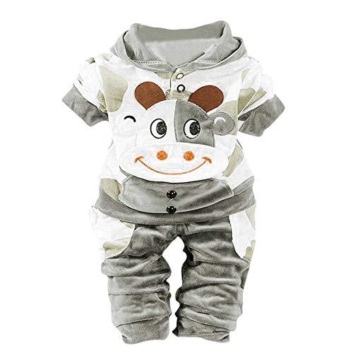 BaZhaHei Neugeborenes Baby Mädchen Jungen Cartoon Kuh warme Outfits Kleidung Samt Kapuzen Tops Set Kapuzenoberteile Outfits - Kuh Neugeborenen Kostüm