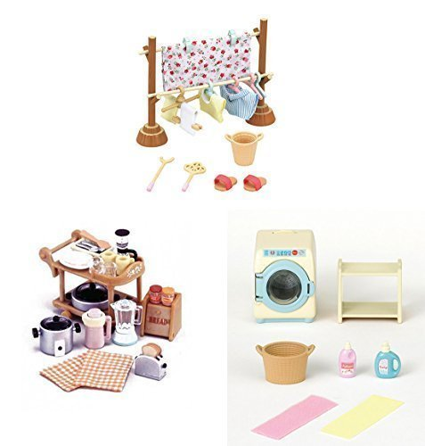 3-sylvanian-families-sets-clothesline-washing-machine-and-kitchen-appliances-laundry-and-home-by-syl