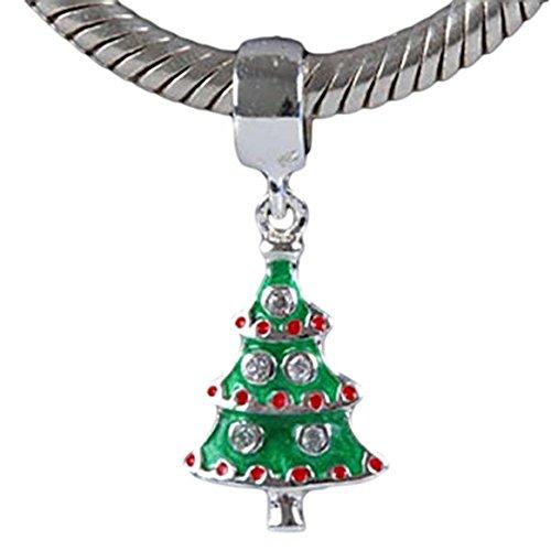 Charm Buddy Anhänger aus massivem Sterling Silber Strass Weihnachten Weihnachtsbaum Charm für Charm Armbänder