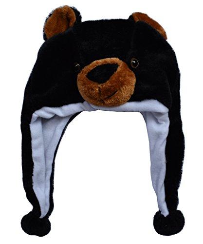 JOYHY Unisex Kinder Winter Plüsch Ohrenklappen Tier Hüte Schwarz Bär