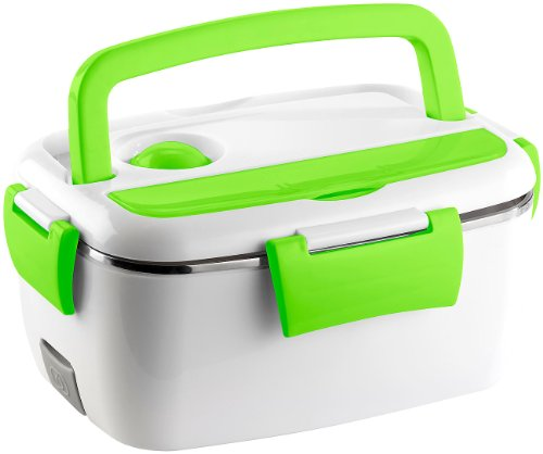 Rosenstein & Söhne Thermobox: Elektrische Edelstahl-Thermo-Lunchbox, 2 Fächer und Löffel, 40 Watt (Essenwärmer)