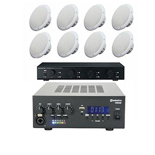 4 Paar 35w Deckenlautsprecher mit Verstärker, Lautsprecher&100m Kabel (Remote Post Display)