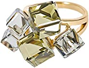 MOONSTONE Women's Fashion Statement Ring Two-Toned Asymmetric Zircon Crystal Cube, Ladies Accesso