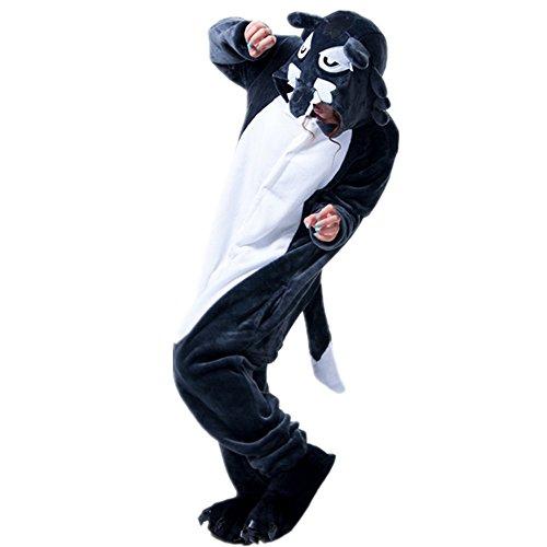 Missley Einhorn Pyjamas Kostüm Overall Tier Nachtwäsche Erwachsene Unisex Cosplay (S, Big Grey Wolf)