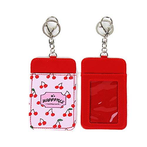 Sommer-Kinder Leder Karten-Sets Frauen Schlüsselhaken Bus-ID-Karten-Halter-Kasten-Beutel-Beutel-Halter Keychain Lanyard Rot