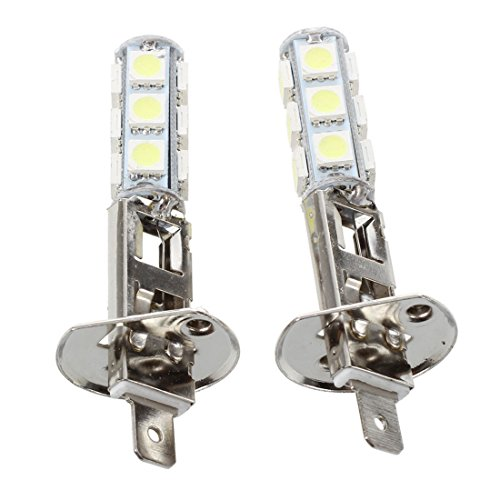 SODIAL(R) 2 pcs AUTO LAMPES PHARE LUMIERE H1 BLANC 13 LED SMD 5050 PUCES