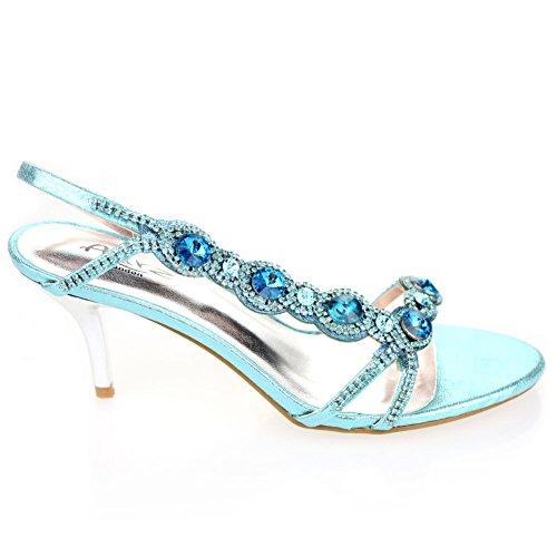 Aarz signore delle donne del partito di sera di promenade di nozze tacco medio Diamante nuziale del sandalo calza il formato (Oro, Argento, Nero, Rosso, Blu) Blu