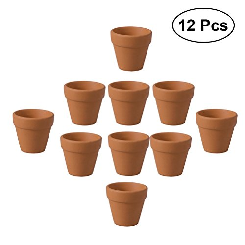 OUNONA 12Pcs 3x 3cm Klein Mini Terrakotta Ton Keramik Töpferei Planteur Kaktus Blumentöpfe succulentes Aufzuchtstation Grand für Topfpflanzen Handwerk für Hochzeit, Image 1, Size 1