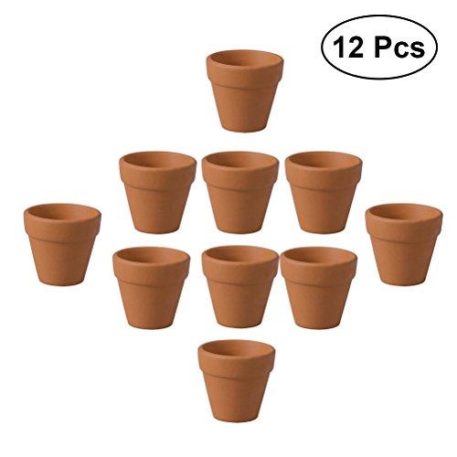 ounona 12Mini terracotta Pflanzgefäß Topf TON Keramik Kaktus Blumentöpfe Sukkulente Anzuchttöpfen 3x 3cm