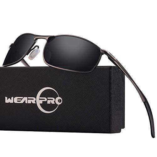 Wearpro occhiali da sole con montatura in metallo polarizzato sport da uomo occhiali da sole con montatura in metallo polarizzato da sport per uomo wp1015 (black/gun)