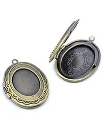 Housweety 5 Pendentifs Medaillon Ovale porte Photo Couleur Bronze 34x24mm