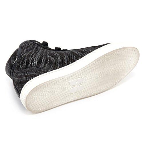 B5952 sneaker donna HOGAN REBEL R182 scarpa zebrato nero/piombo shoe woman nero/piombo